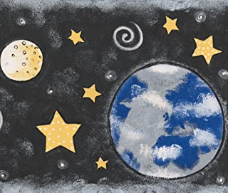 Outer Space Planets Stars Black Wallpaper Border for Kids, Roll 15' x 7''