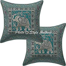 Stylo Culture Ethnic Brocade Jacquard Paisley Square Throw Pillow Covers Brocade Sea Green 40x40 cm Traditional Elephant (Set of 2 Pcs) Square Cushion Covers