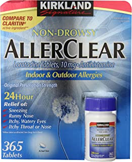 Kirkland Signature Non Drowsy Allerclear Loratadine Tablets, Antihistamine, 10mg, 365-Count