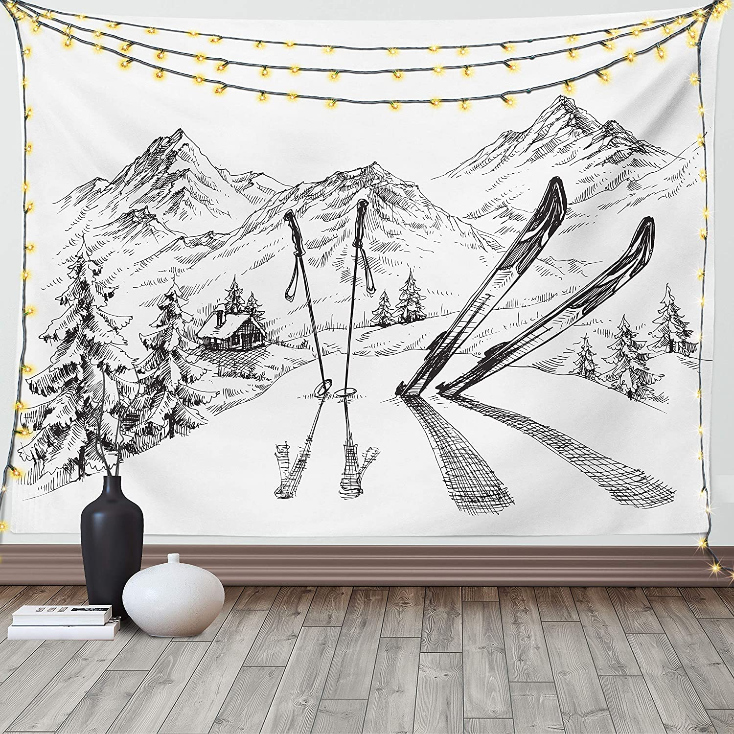Ambesonne Popularity Sports Tapestry Winter Activity Skiing Gear Seasonal gift