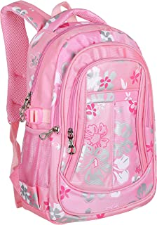 MGgear 16-Inch Girls' Floral Print School Backpack, Childrens Book Bag, Pink