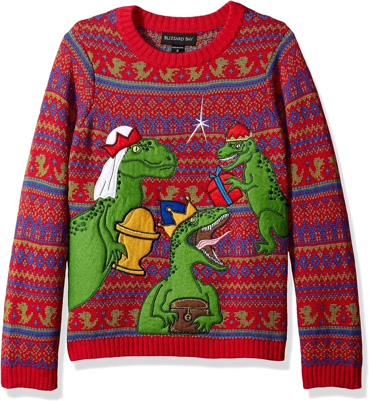 Blizzard Bay Boy's Dinosaur Fight Xmas Sweater