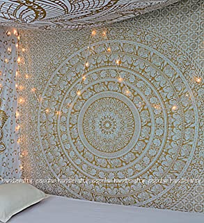 New Launched Popular Gold Elephant Tapestry Indian Mandala Wall Art Hippie Wall Hanging Bohemian Bedspread With Metallic Shine tapestries 84x90 Inches,(215x230cms) Exclusively By Popular Handicrafts