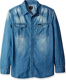 Lee Men's Denim Long Sleeve Shirt Heritage Western Regular Big Tall