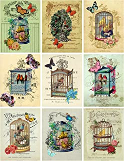 Vintage Victorian Birdcages Collage Sheet Ephemera Art Images for Decoupage, Scrapbooking, Jewelry Making