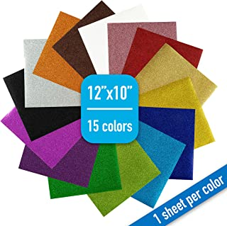 """Glitter Heat Transfer Vinyl Bundle - Iron On HTV, 12"""" x 10""""   15 Sheets   15 Assorted Colors for Custom DIY Designs, T-Shirts, Home Decor, Crafts   Easy to Cut, Weed, and Transfer   Shimmer Finish"""