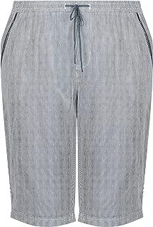 Beme Knee Length Stripe Linen Short - Womens Plus Size Curvy