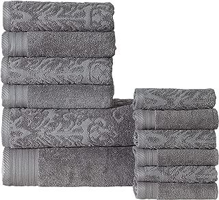 Panache Home Collection 12 Piece Jacquard/Paisley Collection 100% Luxurious Cotton 600 GSM Towel Set - Gray