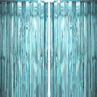 Blue Tinsel Foil Fringe Curtains Under The Sea Baby Shower Birthday Photo Backdrops Wedding Happy New Years Christmas Party Decor Photo Booth Props Backdrops Decorations