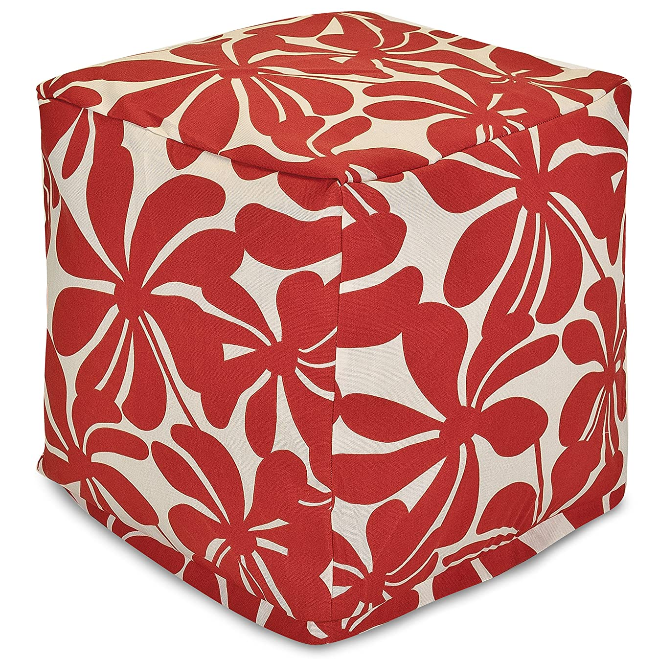 Majestic Home Goods Red Plantation Indoor/Outdoor Bean Bag Ottoman Pouf Cube 17