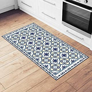 Camoone Non Slip Kitchen Mat + 4 Free Coasters – (Greek Garden) Blue & White Decorative Vinyl Kitchen Floor Mat - Hypoallergenic, Insulated, Non-Fading, Easy to Clean and Non-Toxic