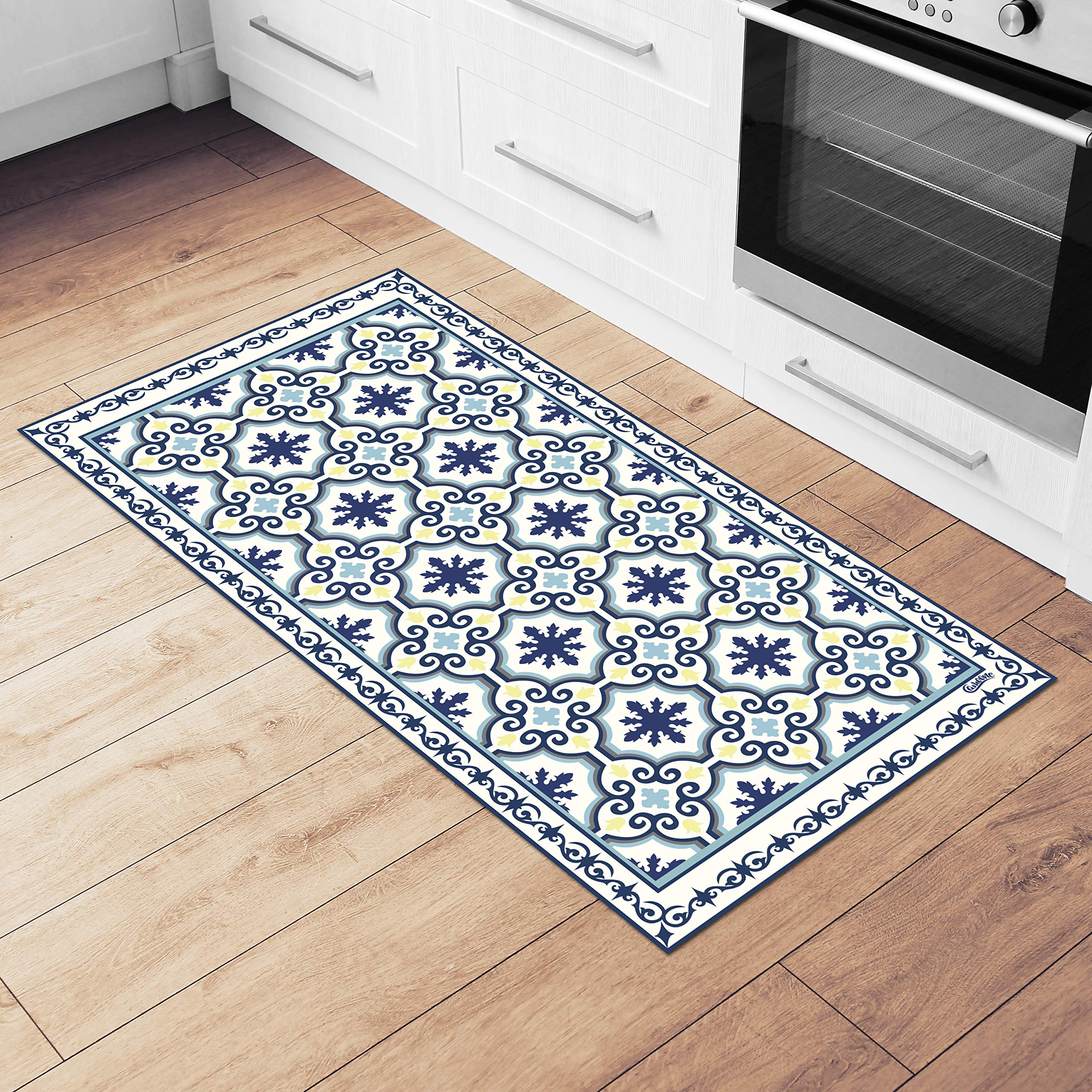 Camoone Non Slip Kitchen Mat + 9 Free Coasters – Greek Garden Blue &  White Decorative Vinyl Kitchen Floor Mat   Hypoallergenic, Insulated, ...