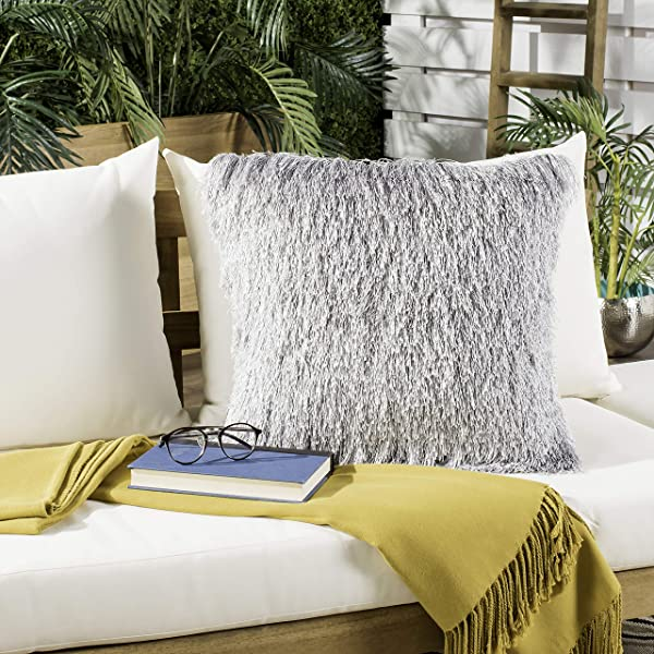Safavieh Soleil Indoor Outdoor Shag Throw Pillow 20 X 20 Silver