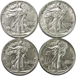 1942-1945 S Walking Liberty Half Dollar Set About Uncirculated