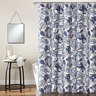 Lush Decor, Blue Cynthia Jacobean Shower Curtain-Fabric Floral Print Design, x 72
