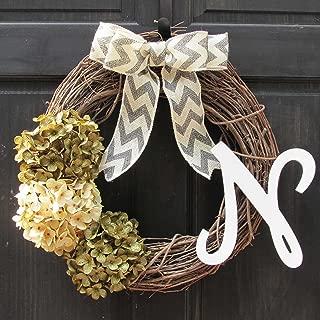 Year Round Hydrangea Grapevine Wreath for Winter Spring Front Door Decor; Optional Monogram