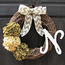 Year Round Hydrangea Grapevine Wreath for Winter Christmas Fall Front Door Decor; Optional Monogram