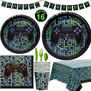 Crafted Pack Video Game Party Supplies - Plates, Cups, Napkins, Happy Birthday Banner, Table Cover, Utensils Pack - 16 Guests - Controller Gamming Themed Birthday Decorations for Boys