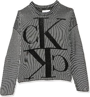 Calvin Klein Women's MIRRORED MONOGRAM CK CN Pullover, Black, Medium