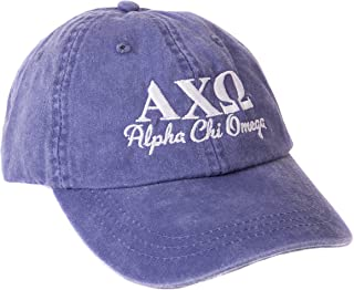 Alpha Chi Omega (S) Sorority Embroidered Baseball Hat Cap Cursive Name Font AXO
