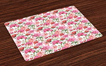 Ambesonne Shabby Flora Place Mats Set of 4, Summer Spring Garden Flowers with Leaves and Buds Artwork, Washable Fabric Placemats for Dining Room Kitchen Table Decor, Orange Hot Pink and Pale Pink