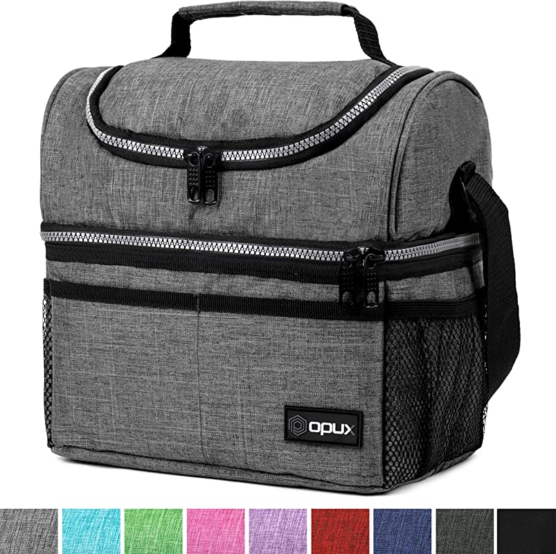 Insulated Dual Compartment Lunch Bag For Men Women Double Deck Reusable Lunch Box Cooler With Shoulder Strap Leakproof Liner Medium Lunch Pail For School Work Office Heather Gray
