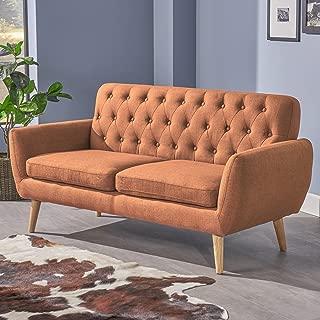Christopher Knight Home Eunice Petite Mid Century Modern Tufted Burnt Orange Fabric Sofa, Natural