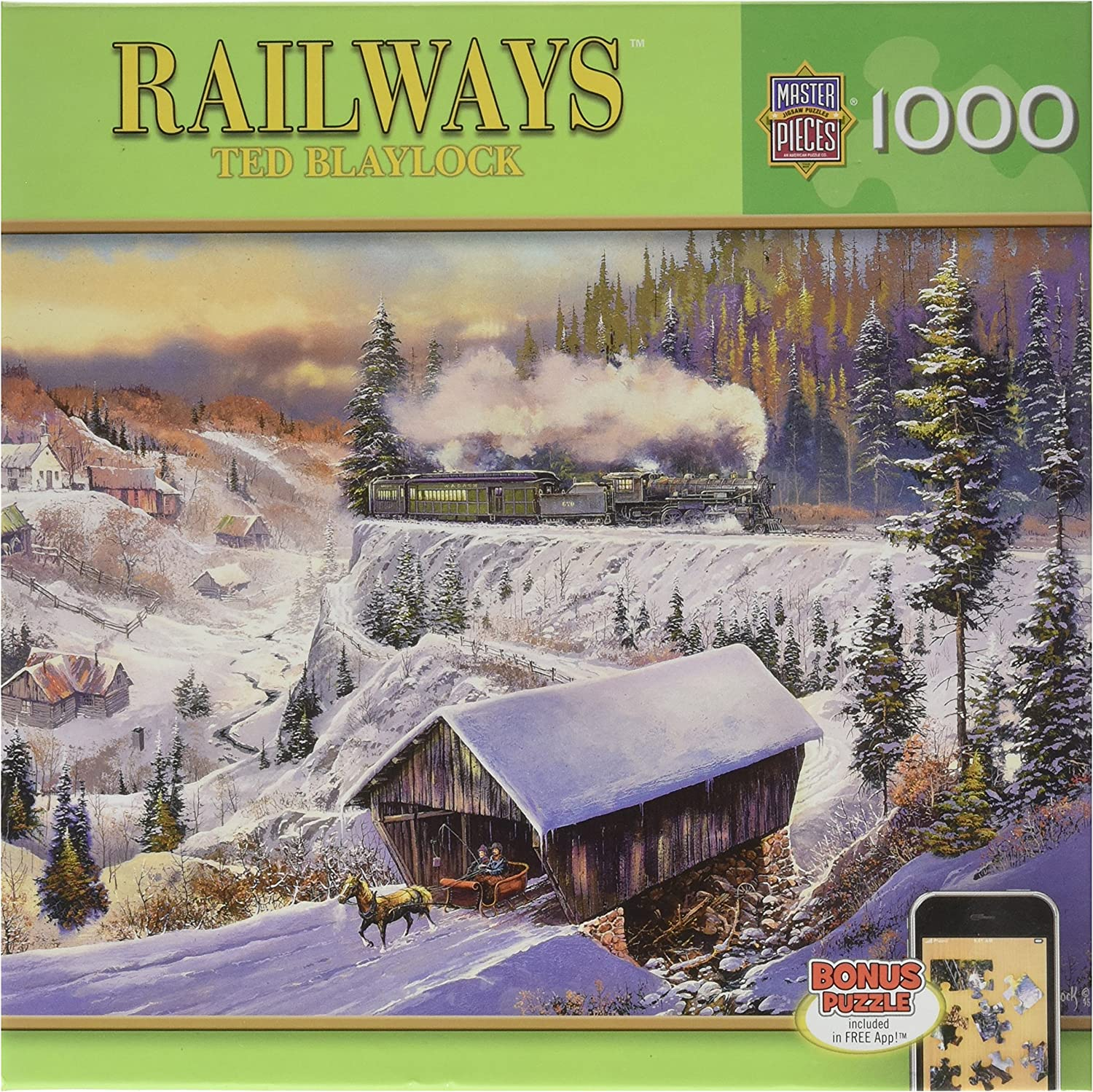 MasterPieces Railways Wabash Cannonball Run Jigsaw Puzzle, Art by Ted Blaylock, 1000-Piece