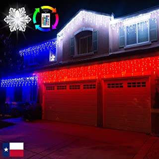 Russell Decor LED Icicle Lights Christmas Decorative String Curtain Lights with Remote 20ft ×2ft RGB Color Changing LED Lights Patio Porch Roof Party Wedding Indoor Outdoor Decoration