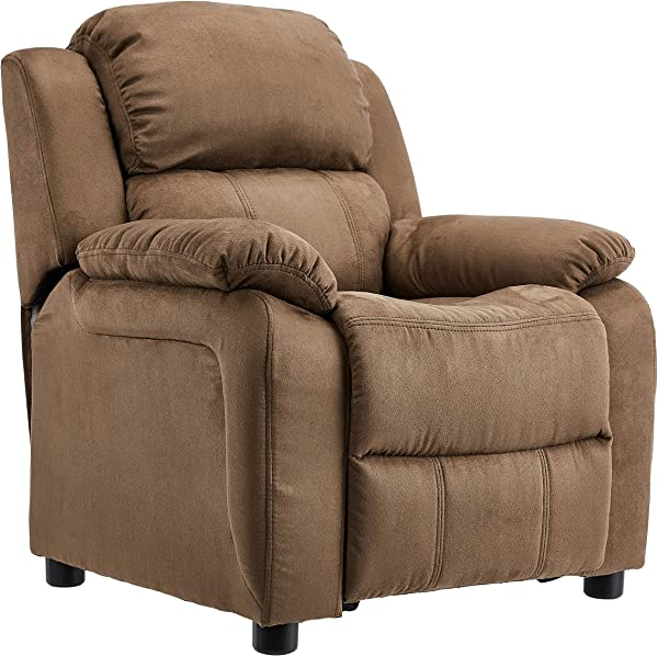 JC Home BT 7985 Kids Microfiber Deluxe Heavily Padded Recliner With Storage Arms Brown