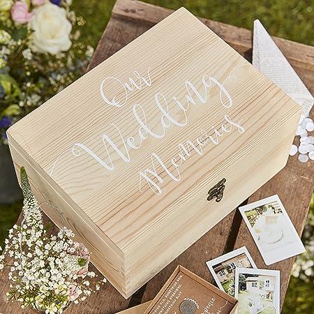 Wooden Wedding Memories Personalised Gift Box White