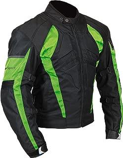 Milano Sport Gamma Men's Motorcycle Jacket (Black/Green, Large)