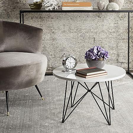 Safavieh Home Collection Vida Modern White Lacquer Round Hairpin Leg End Table