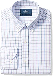 "Buttoned Down Men's Tailored Fit Button-Collar Pattern Non-Iron Dress Shirt, Grey/Purple/Blue Tattersall Check, 19"" Neck 34"" Sleeve (Big and Tall)"
