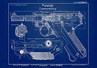 UpCrafts Studio Design P08 Luger German Pistol Blueprint - WW1 WW2 Guns Replica Poster - Parabellum Pistole Military Collectibles Wall Art Decor