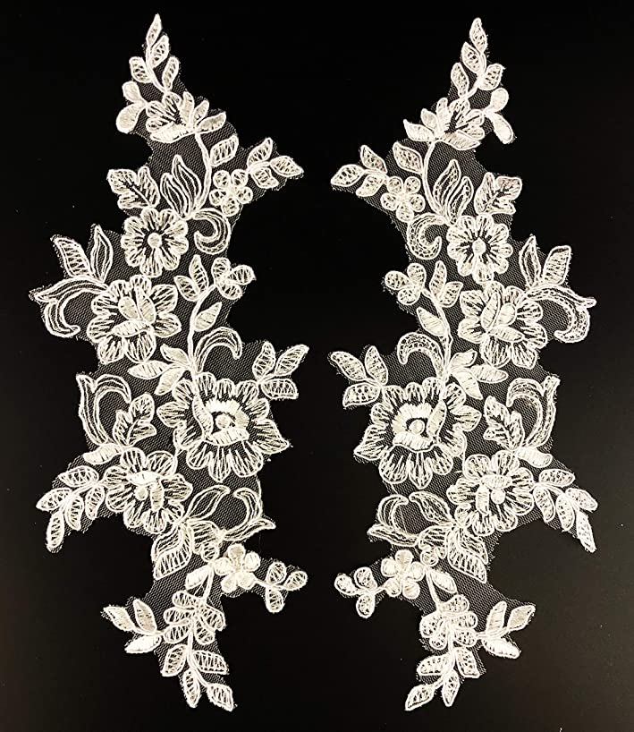 PEPPERLONELY 1 Pair White Delicate Wedding Veil Head Ornaments Lace Applique Lace Trim Dress DIY Lace Accessorie, 27 X 9 cm