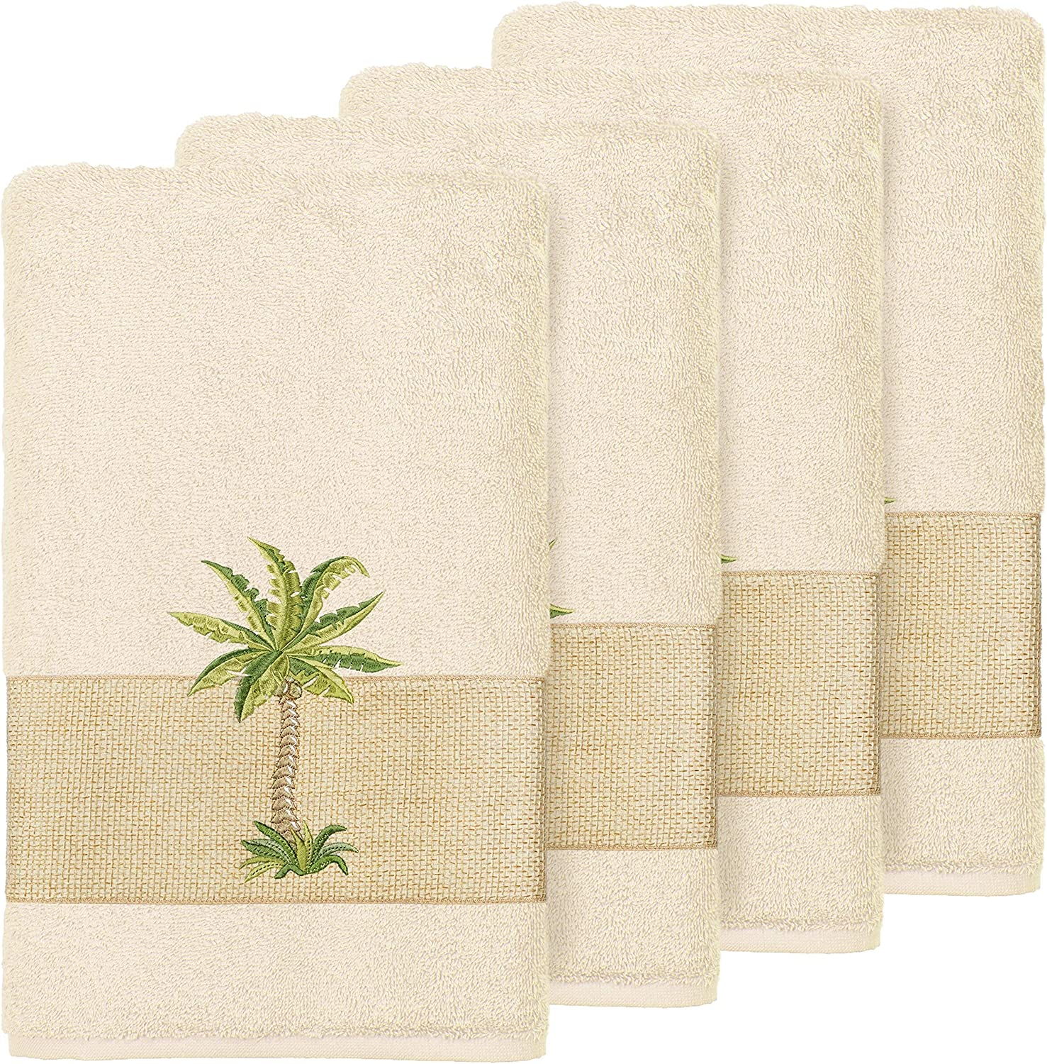 Turkish Cotton Max 40% OFF Palm Tree Embroidered Cream Hand High order 4 of Towels Set