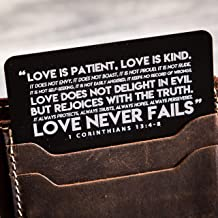 Love Is Patient 1 Corinthians 13:4-8 Engraved Card with Burlap Gift Pouch - Wedding Day or Anniversary Gift for Husband or Wife