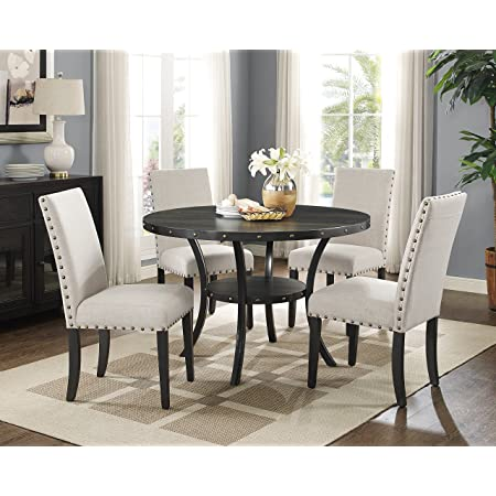 Roundhill Furniture D162ta Biony Dining Collection Espresso Wood Set Fabric Nailhead Chairs Tan Chairs