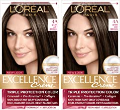 L'Oreal Paris Excellence Creme Permanent Hair Color, 4a Dark Ash Brown, 100 percent Gray Coverage Hair Dye, Pack of 2