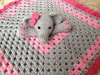 Crochet Elephant Lovey, Security Blanket, baby shower gift, elephant nursery, elephant baby gift, photo prop, crochet blanket, baby, newborn