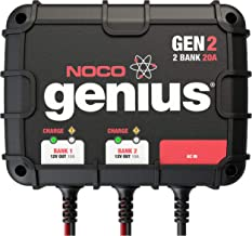 NOCO Genius GEN2, 2-Bank, 20-Amp (10-Amp Per Bank) Fully-Automatic Smart Marine Charger, 12V Onboard Battery Charger And B...