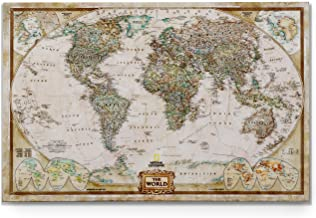 World Travel Map Wall Art Collection Executive National Geographic World Travel Map Prints Wrapped Gallery Wall Art |Ready to Hang, 24X36, Watercolor On Canvas