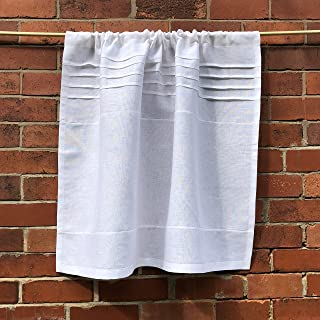 Custom Kitchen Cafe Curtain White French 100% Linen Personalized Monogram