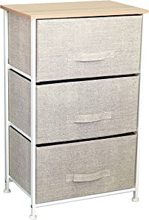 East Loft Nightstand Dresser |Storage Organizer for Closet, Nursery, Bathroom, Laundry or Bedroom | 3 Fabric Drawers, Solid Wood Top, Durable Steel Frame| Natural