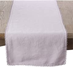 """SARO LIFESTYLE 15062.LV1672B Pomponin Collection 100% Linen Table Runner With Pompom Edges, 16"""" x 72"""", Lavender"""
