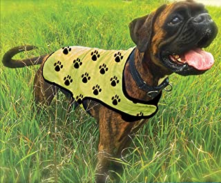 Canine Chiller PVA Cooling Vest for Dogs, Yellow with Black Paw Prints