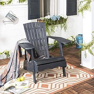 Safavieh PAT6700K Outdoor Collection Mopani Grey Side Chair, Dark Slate Gray