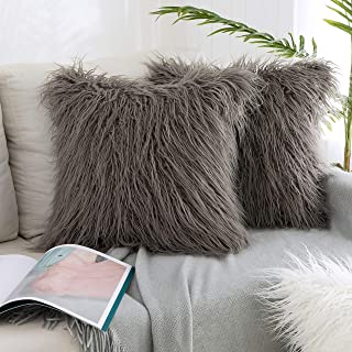 Kevin Textile Pack of 2, Decor Home Deluxe Soft Plush Merino Style Grey Faux Fur Throw..