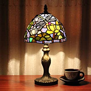 ALUS-8 inch Tiffany lotus leaf dragonfly fly handmade lamp tables cafe bar restaurant trade Lamps